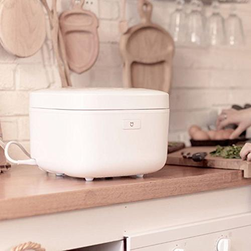 MyEasyShopping Electric Rice Cooker 4L Electromagnetic Heating APP Container Automatic Heat Preservation -White
