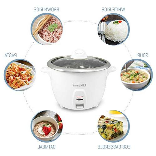 Elite Gourmet Rice Cooker with Steel Inner Pot Soups, Stews, Cereals, 10 , Cups), White