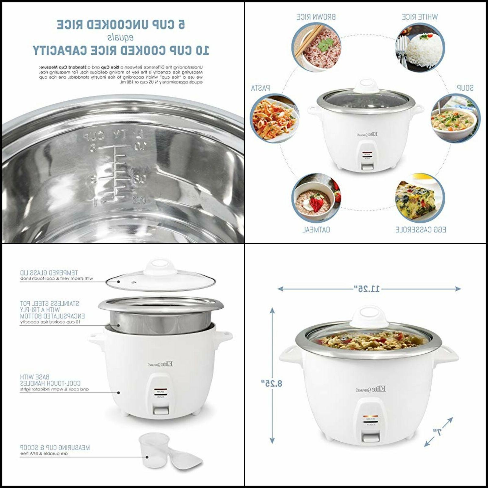 Elite Gourmet Rice Cooker Steel Inner Pot Soups, Stews, Grains, 10 Cups),