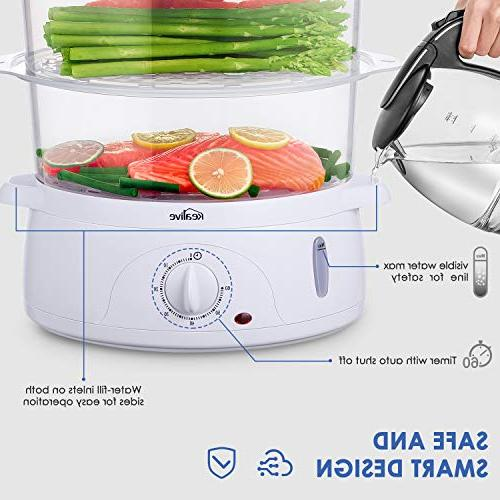 Food 9.5 Quart Vegetable Steamer BPA-Free with Timer Stackable Baskets, Electric Steamer Pot Cooker Egg Holders and Rice ,