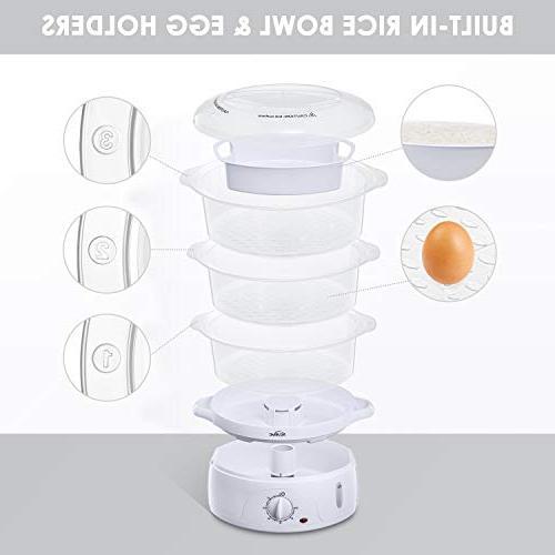 Food Quart Vegetable Timer 3 Stackable Baskets, Pot Cooker Egg Holders , 800W Up,