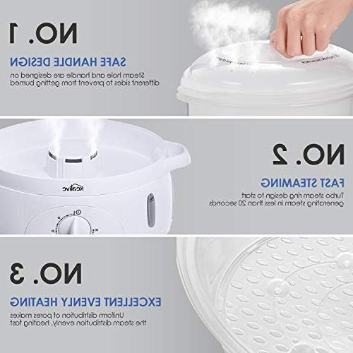Food Steamer, 9.5 Vegetable Steamer Timer Stackable Steamer Pot with Egg Holders and , Heat Up,