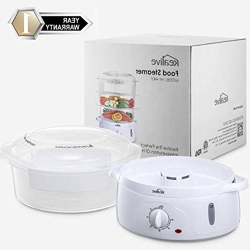 Food Vegetable Steamer BPA-Free Timer Tier Stackable Baskets, Steamer Pot with Holders Rice , 800W Fast Heat Up,
