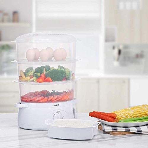 Food Steamer, Vegetable BPA-Free with Timer 3 Tier Stackable Baskets, Electric Steamer Pot Cooker with Egg Holders and Rice Up,