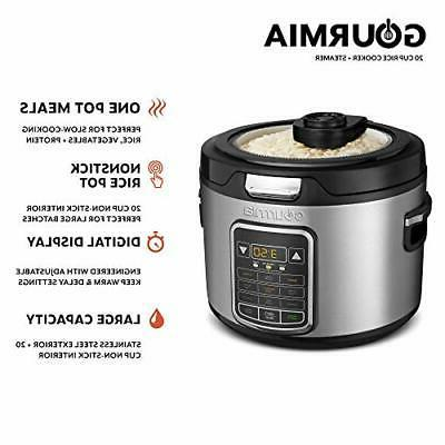 Gourmia GRC970 11-in-1 Digital 20-Cup Cooker Clear Lid Easy