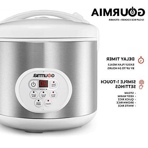 Gourmia Rice Cooker and For Grains and Cereal Steam - Keep Timer Stainless Steel Cookbook