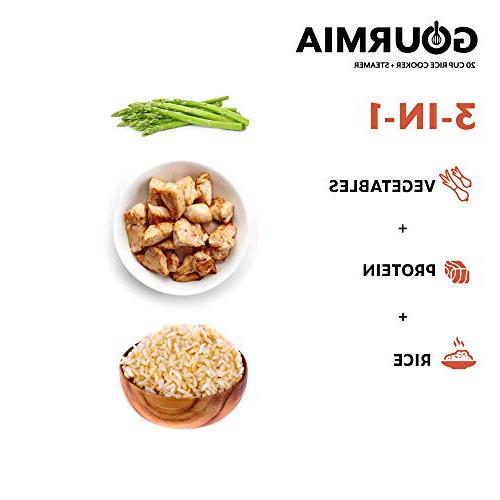 Gourmia GRC870 Rice Steamer For Cereal - Basket - Digital Display Keep Delay Timer - - Stainless Steel Bonus Cookbook