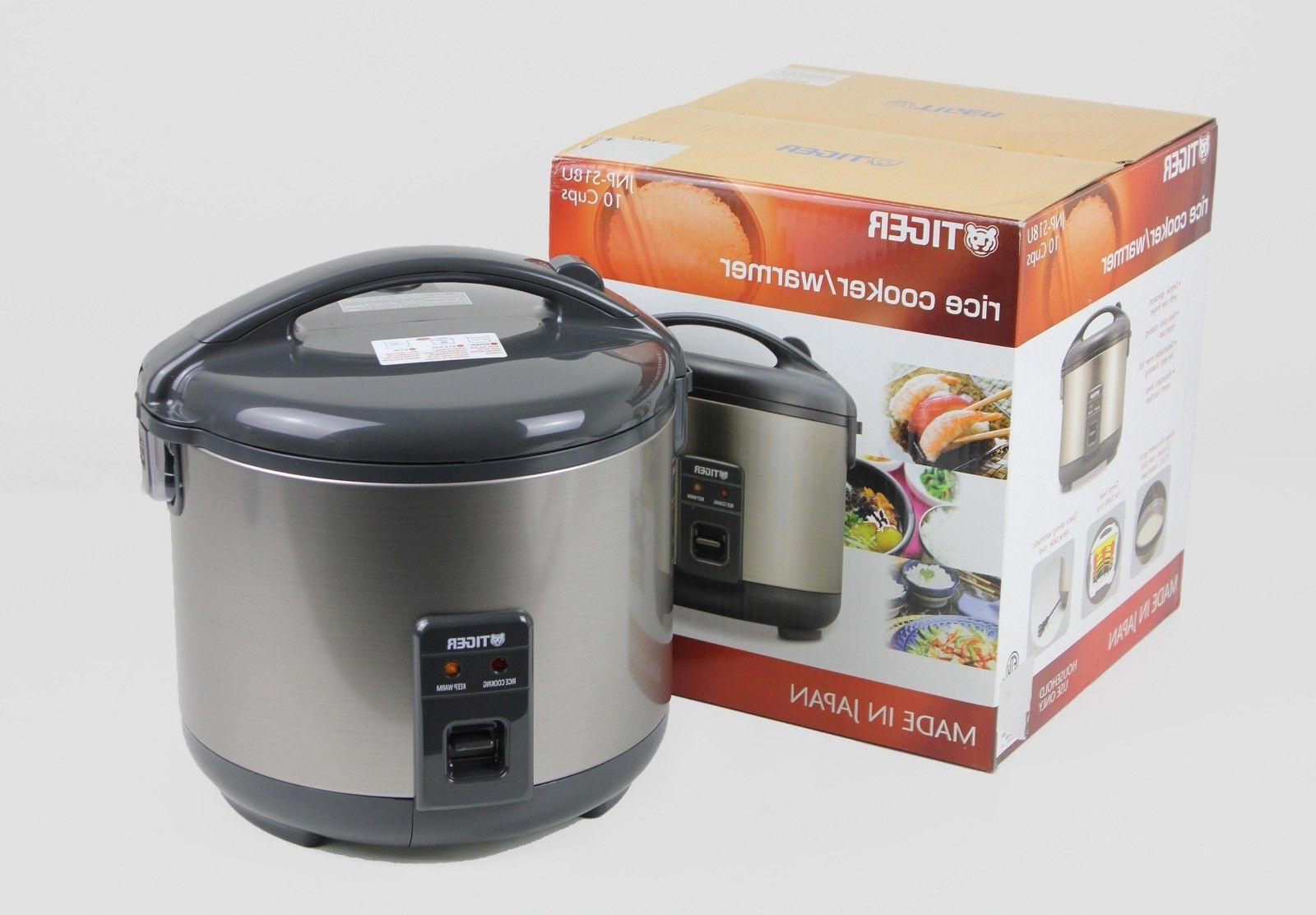 Tiger JNP-S18U Rice Cooker and Warmer, Stainless Steel Gray,