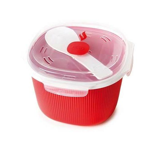 Microwaveable Cookware Plastic Red Square Rice Cooker Utensi