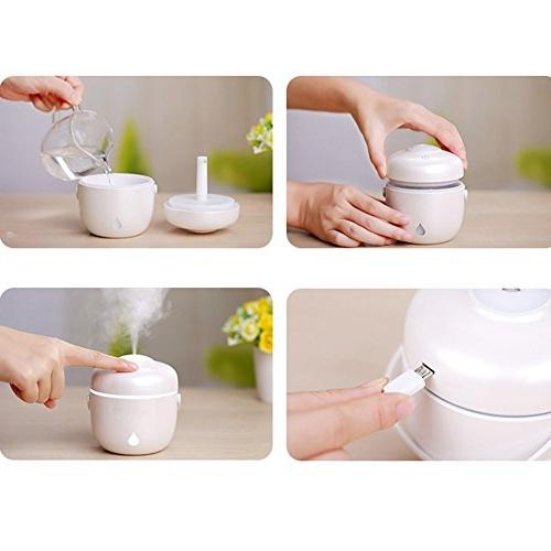 Mini Cute Shape USB Mist Ultrasonic Desk Purifier With LED Light For Bedroom Home Office Baby Toilet Hours