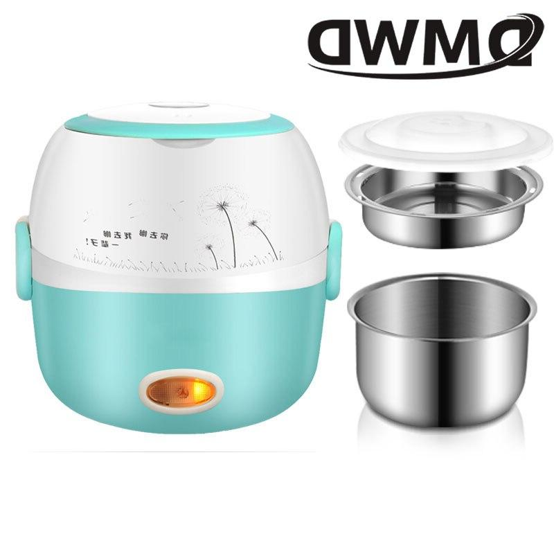 DMWD <font><b>Rice</b></font> Thermal Heating Lunch Box 2 Layers <font><b>Food</b></font> <font><b>Steamer</b></font> Meal Warmer