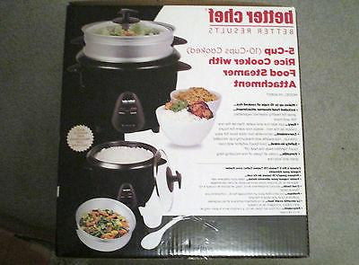 NEW Better Chef 5 cup  Rice Cooker Food/Vegetable Steamer Bl