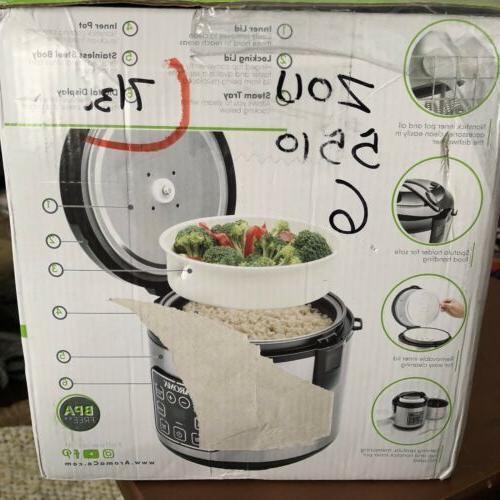 NIB Aroma Housewares Rice Cooker Multicooker Steel