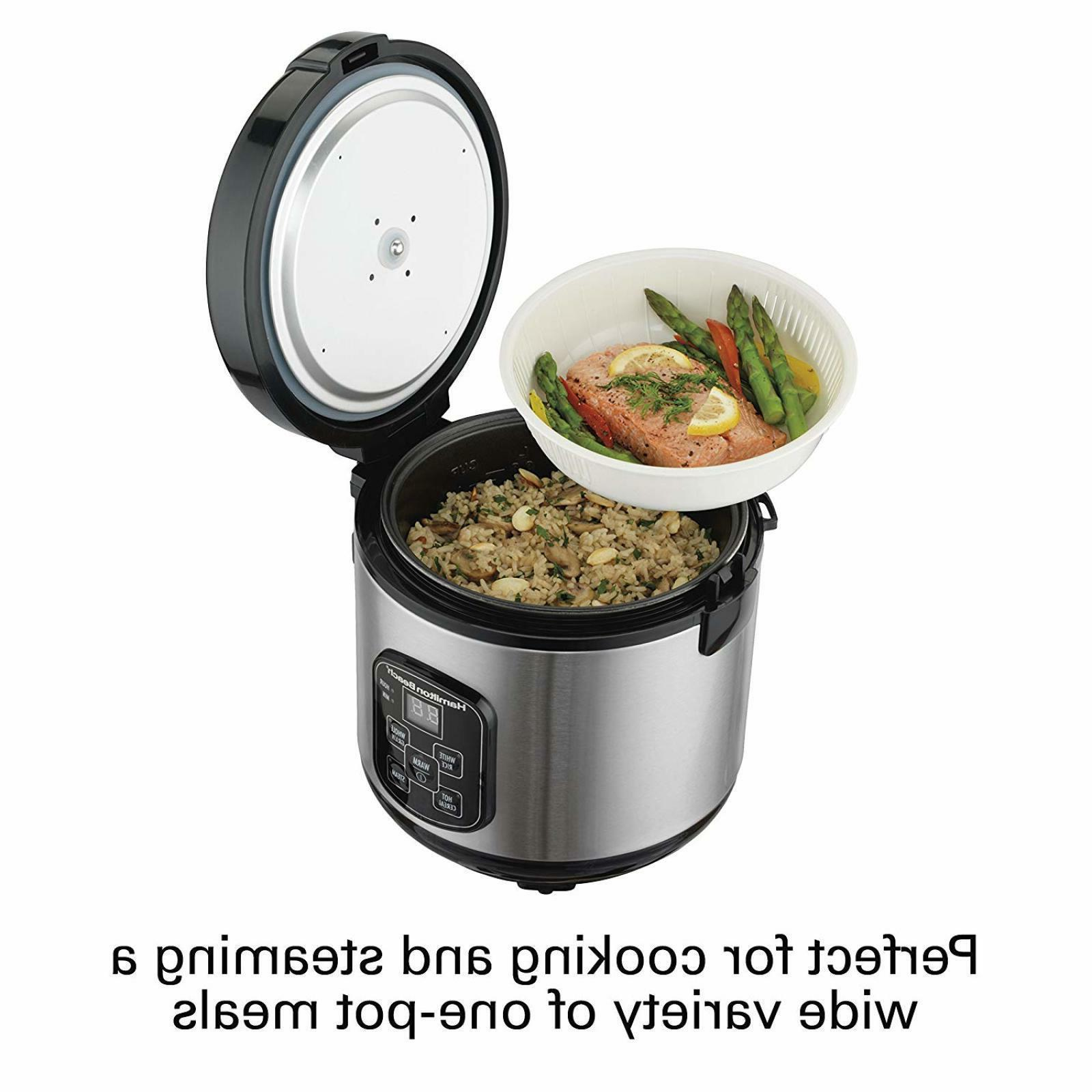 Hamilton Beach Rice Cooker Set 2-in-1 Rice Steam Cups Capacity