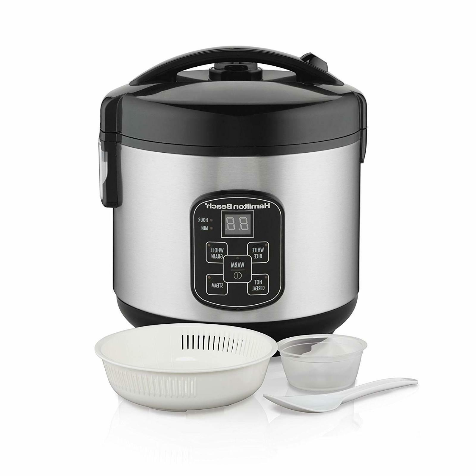 Hamilton Beach Rice Cooker Set 2-in-1 Rice Rinser Steam Bask
