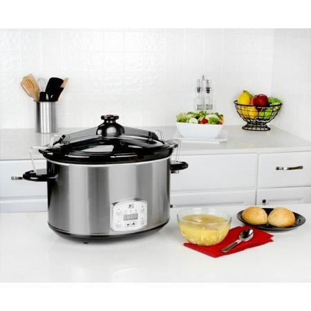 Kalorik 8 Cooker, Digital Oval Cook and Carry, Stainless Steel