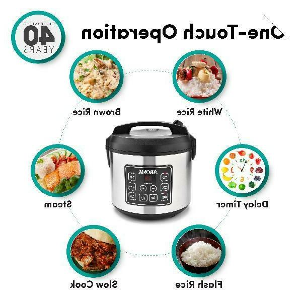 Aroma Steel Cup Programmable Rice & Steamer,