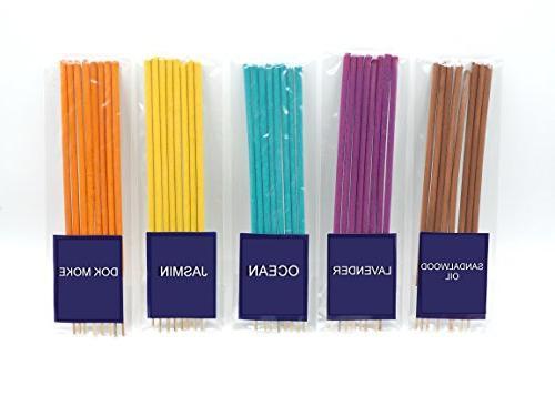 Thai Incense Sticks with 10 100% Natural Jasmin DokMoke Rose Pea Fangipani