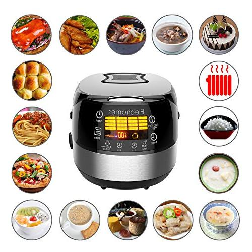 Elechomes Rice Cooker, Cooker, 10-Cups Cooker with Steam Rinse