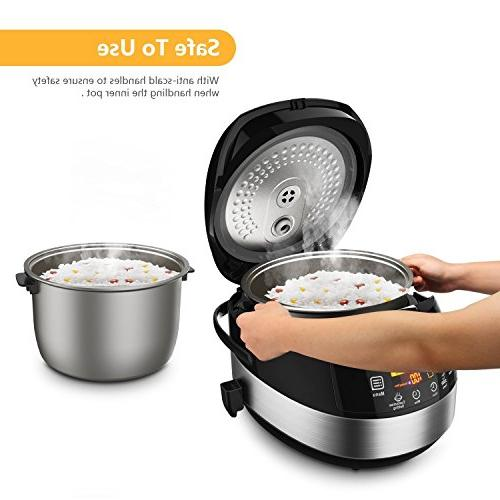 Elechomes LED Touch Control Rice Cooker, Cooker, 10-Cups Uncooked Warmer Cooker & Rinse Basket,