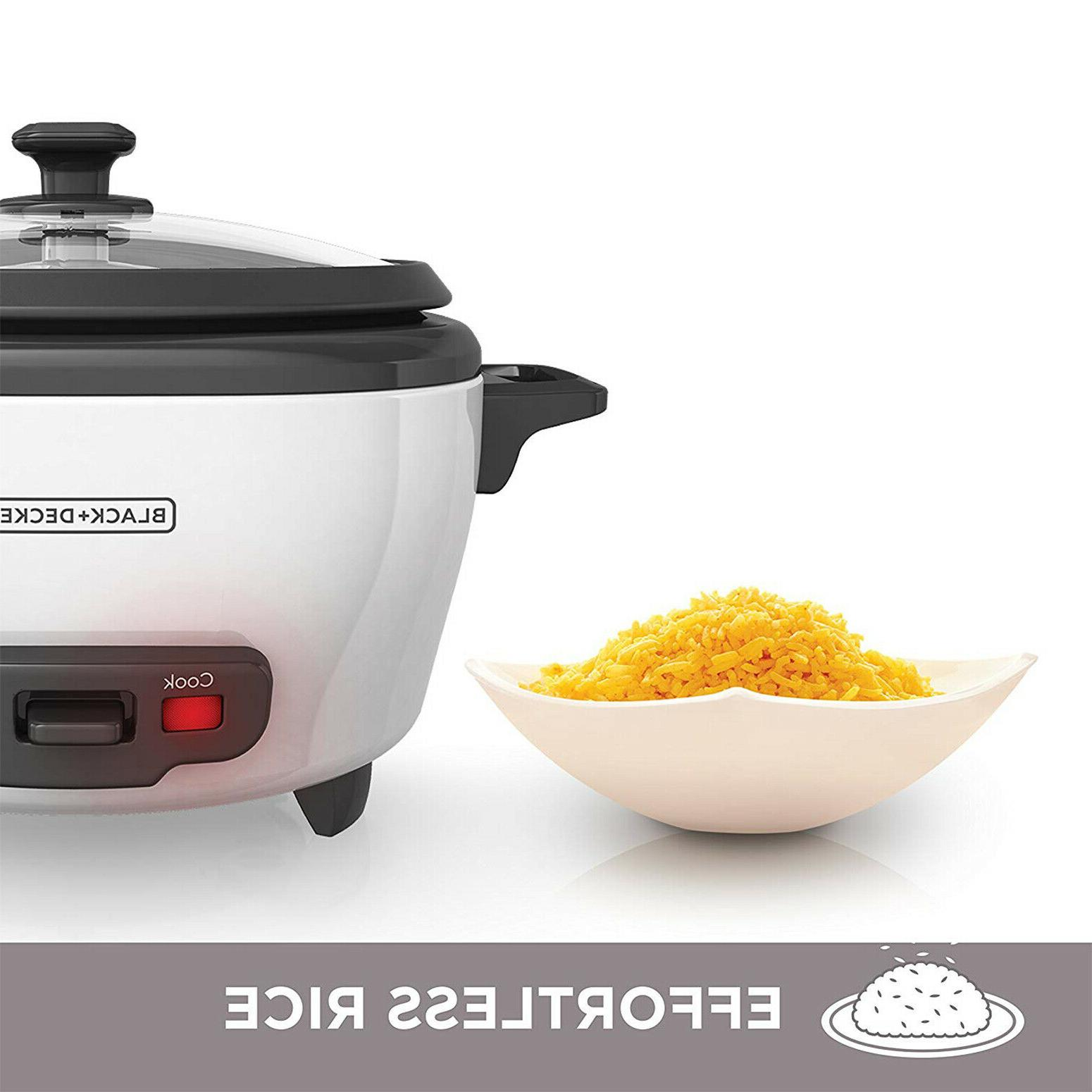 Uncooked Rice Cooker Food Steamer 6-Cup 300W Warm Food White