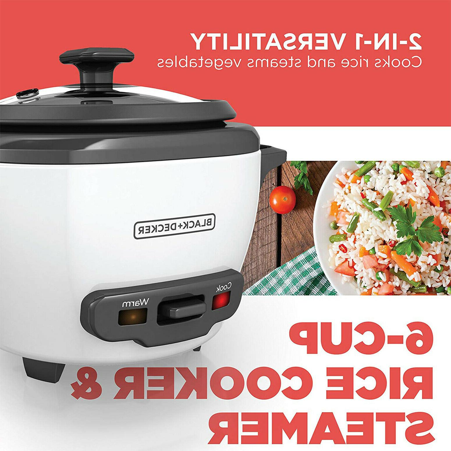 Uncooked Rice Cooker and Food Steamer 300W Kitchen White