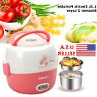 US 1.3L Stainless Steel 2 Layer Electric Portable Lunch Box