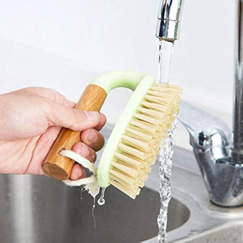 Feccile Wooden Bath Tub Scrubbing Comfort Floors Kitchen Dish Scrub Shower Tools