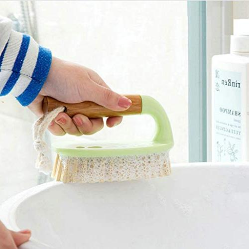 Feccile Wooden Bath Cleaning Brush Scrubbing Comfort Grip Kitchen Scrub Plates Tools