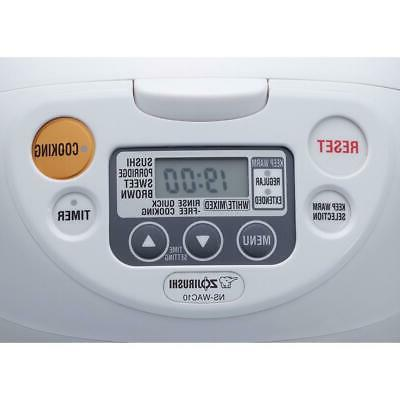 Zojirushi Rice Warmer Non-Stick Built-In 5-Cup Cool White