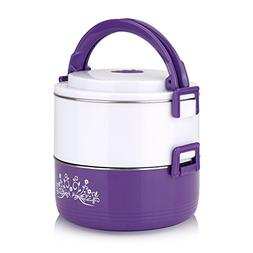 2 Layer Lunch Box Tier Stainless Steel Thermal Insulated Sta