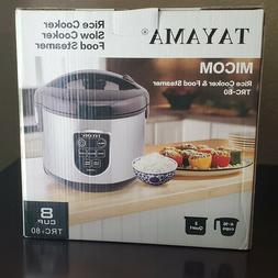Tayama Micom Digital 8-Cup Rice Cooker and Steamer, Grey TRC