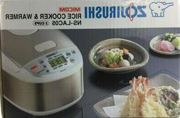 Zojirushi Micom NS-LAC05 3 Cup Rice Cooker - Stainless - NEW