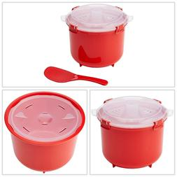 Microwave Collection Rice Cooker 2.6 L Red Plastic BPA Free
