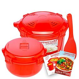 Sistema Microwave Cookware Rice Steamer Set with Lids -- Lar