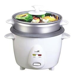 NARITA NRC-150 3-Cup Non-Stick Rice Cooker with Steamer, Whi