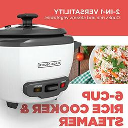 RICE COOKER 6-Cup Cooked/3-Cup Uncooked Nonstick Pot White E