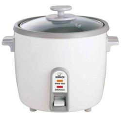 Rice Cooker 6-Cup with Steaming Tray White Stainless Steel F