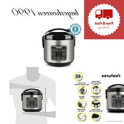 Rice Grain Cooker 2-8 Cups Digital Cool Touch Silver Stainle