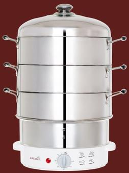 Secura 3-Tier 6-Quart Stainless Steel Electric Food Steamer,