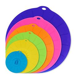 6 Pack Silicone Suction Lids Various Size Reusable Lily Pad