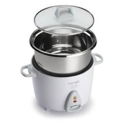 Aroma Simply Stainless 3-Cup to 6-Cup  Rice Cooker, White