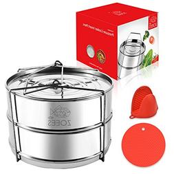 ZOEES Stackable Pressure Cooker Steamer Insert Pans - 5/6/8