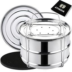 Aozita Stackable Steamer Insert Pans with Sling for Instant