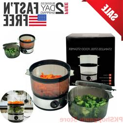 Stainless Steel Electric Food Steamer Vegetable Meat Rice Co