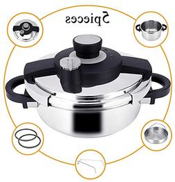 Z&L 4 Quart Stainless Steel Pressure Cooker with One-hand Sy