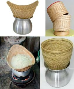 Thai Lao Sticky Rice Cooker Steamer BamBoo Basket Pot Kitche