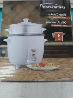 Brentwood TS-700S 4-Cup Rice Cooker with Steamer - White W