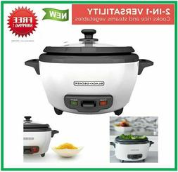 Uncooked Rice Cooker and Food Steamer 6-Cup Cooked 300W Warm