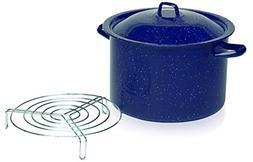 IMUSA USA C20666-1065948 Enamel Steamer Pot, 16-Quart, Blue